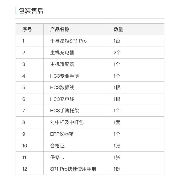 千寻SR1 Pro千寻RTK惯导测量仪器 配置清单